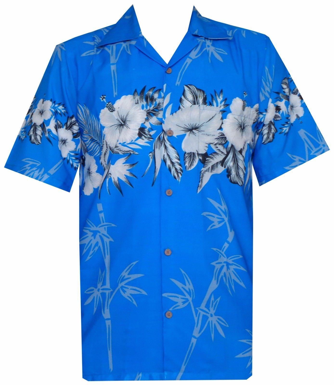 Hawaiian shirts mens bamboo tree print beach aloha party for Bamboo button down shirts