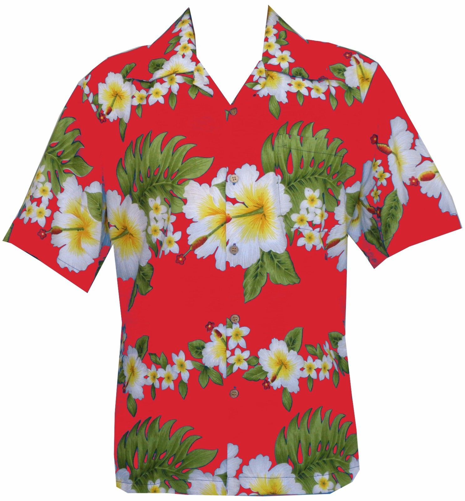 Hawaiian shirt mens hibiscus floral print aloha party for Lsu hawaiian print shirts
