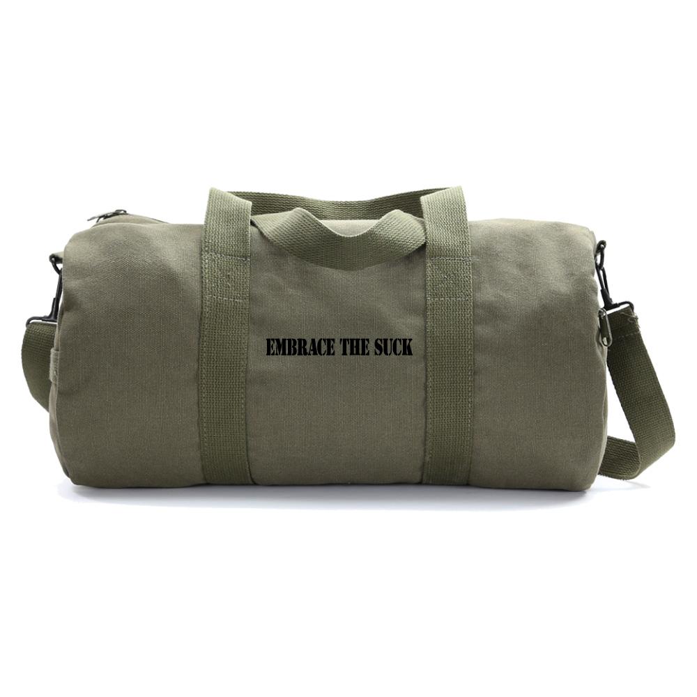Embrace the Suck Heavyweight Canvas Duffel Bag Gym Bag Olive /& Black medium