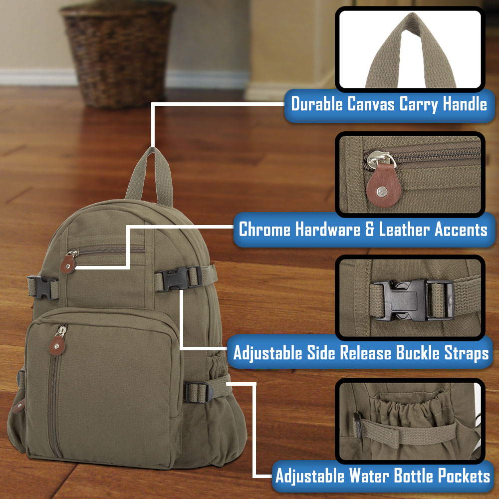 54f1e421cc34 Details about EMS Emergency Medical Services Army Sport Heavyweight Canvas  Backpack Bag