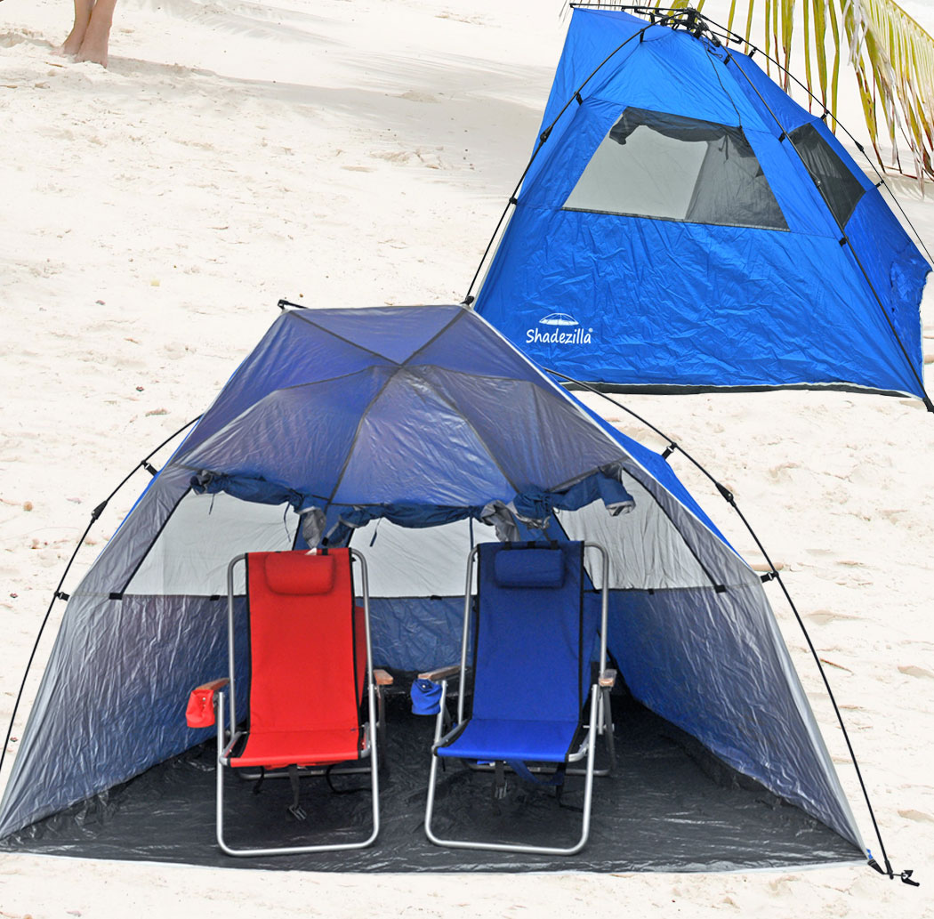 Deluxe-Instant-PopUp-Beach-Tent-Shelter-Cabana-UPF- & Deluxe Instant PopUp Beach Tent / Shelter / Cabana UPF 100+ with ...
