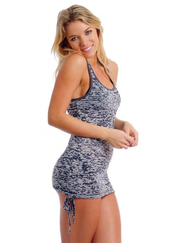 WOMEN S JUNIORS SEXY BURN OUT BIKINI COVER UP LONG TANK TOP SWIMWEAR DRESS  SHIRT 71efe2802