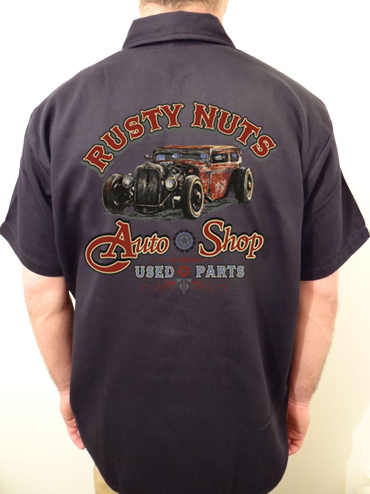 3d4d58f9b MEN'S BIKER WORK SHIRT BIKER rusty nuts auto shop MECHANIC M L XL 2XL 3X 4X  5X