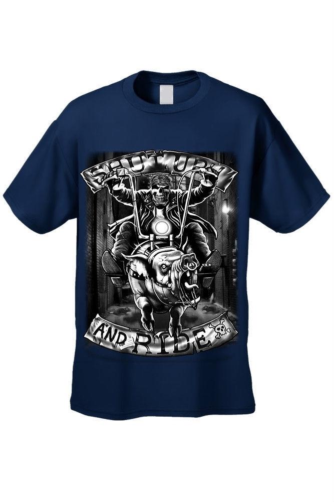 men 39 s biker tee shirt shut up and ride skull motorcycle. Black Bedroom Furniture Sets. Home Design Ideas