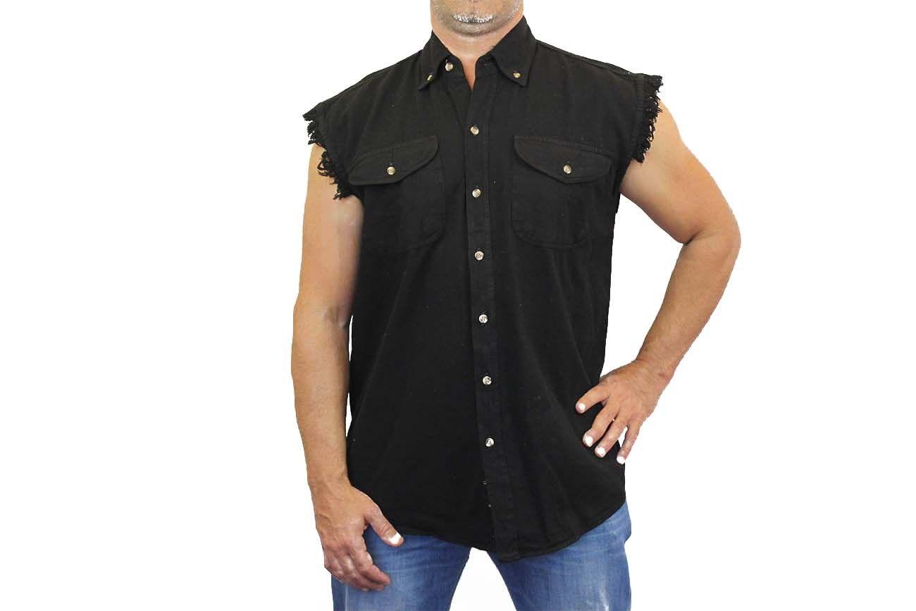 Men 39 s biker tan basic sleeveless denim shirt m l xl 2x for 6xl button down shirts