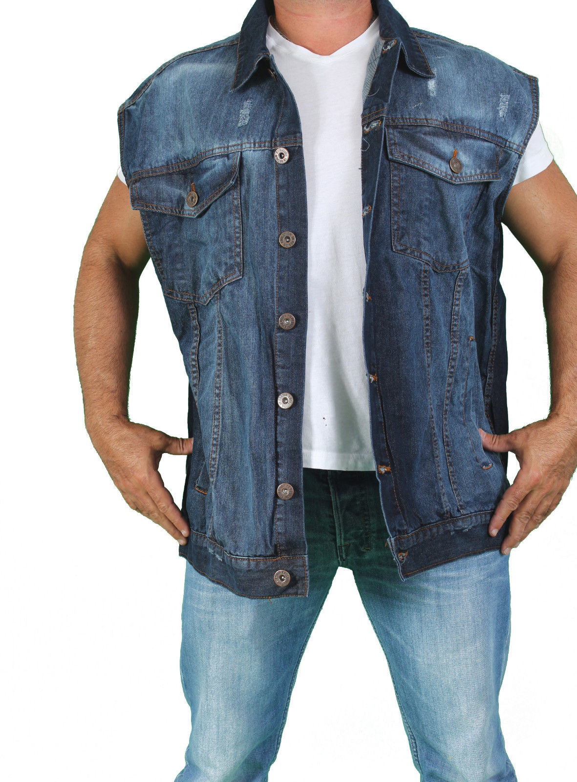 MEN'S BIKER BLUE SLEEVELESS DENIM MOTORCYCLE VEST BUTTON UP ...