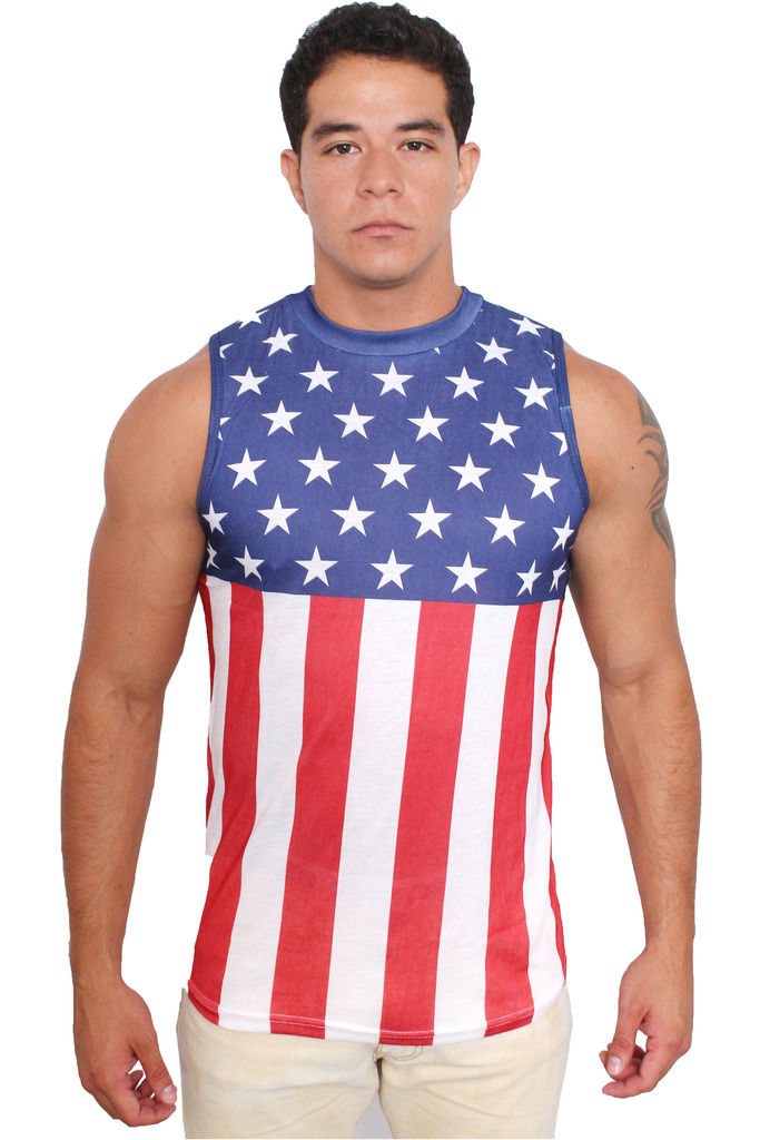 dad89960da1bf2 MEN S USA FLAG SLEEVELESS SHIRT CREW NECK STARS AND STRIPES PRIDE OLD TANK  TOP