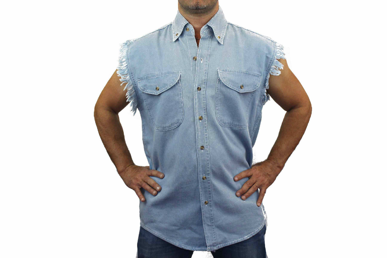 MEN'S SLEEVELESS DENIM SHIRT Outlaw Hot Rod Garage VINTAGE ...
