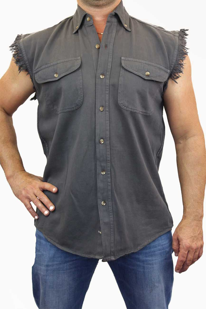 MENS-BIKER-BLACK-BASIC-SLEEVELESS-DENIM-SHIRT-M-L-XL-2X-3X-4X-5X-6X