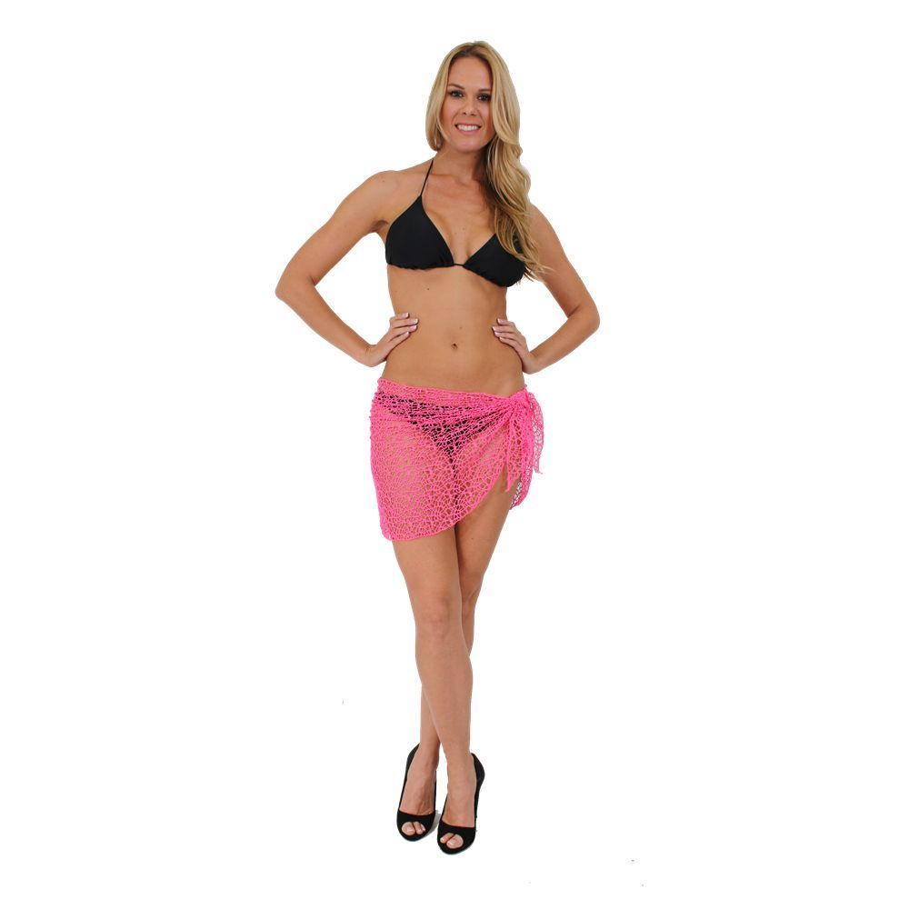 cb57b26654fce WOMEN S JUNIORS SHORT NEON PINK CROCHET SARONG BIKINI COVER UP SUMMER PAREO  WRAP
