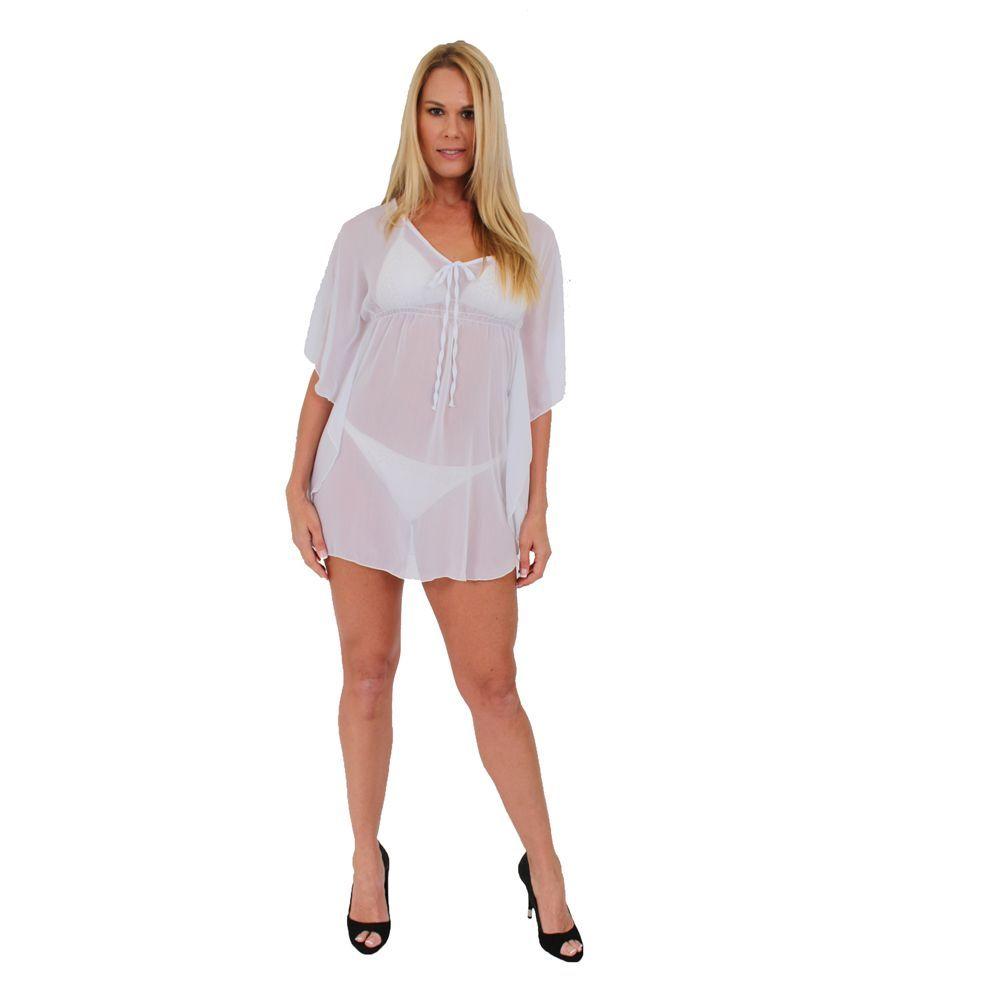 fadb6d1919 WOMEN'S SEXY PLUS SIZE NEON ORANGE CHIFFON COVER UP DRESS BIKINI SWIMWEAR  PAREO