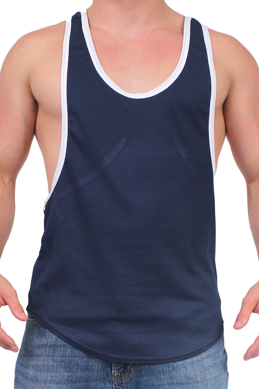 314b7392cd464e MEN S DRI FIT OPEN SIDE RACERBACK BLACK TANK TOP GYM WORKOUT RIB RINGER  SHIRT