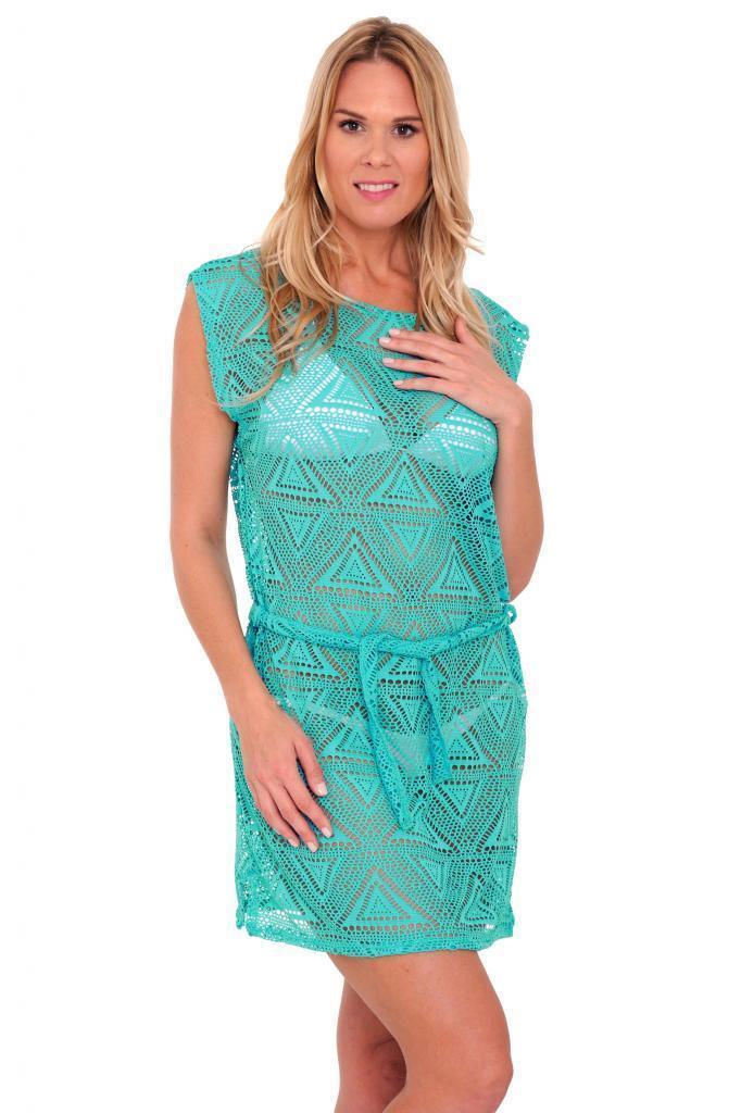 Women S Juniors Crochet Tie Waist Beach Dress Sleeveless