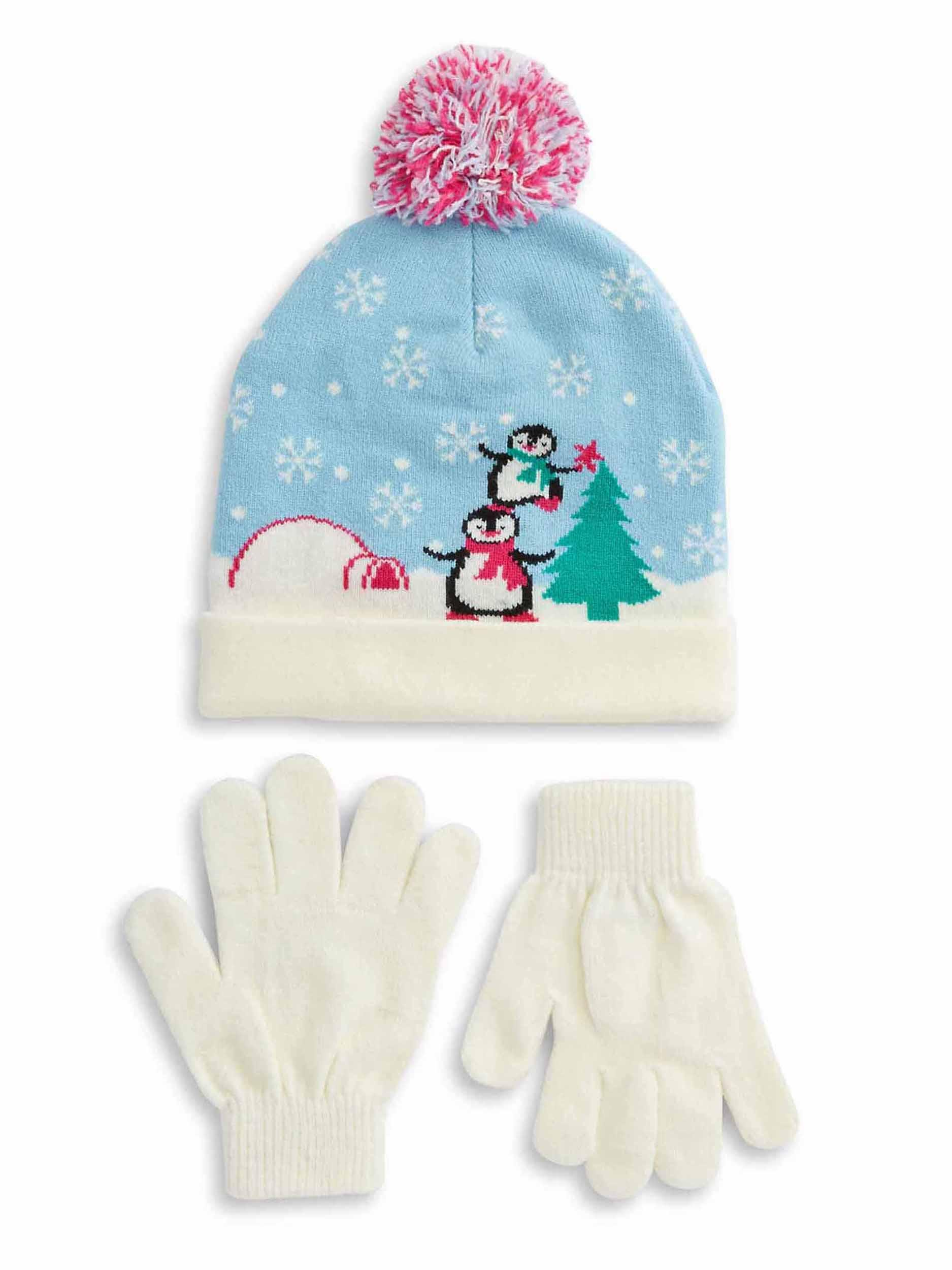Capelli-New-York-Girls-Winter-Scene-Beanie-Hat-amp-Gloves-Set-Light-Blue
