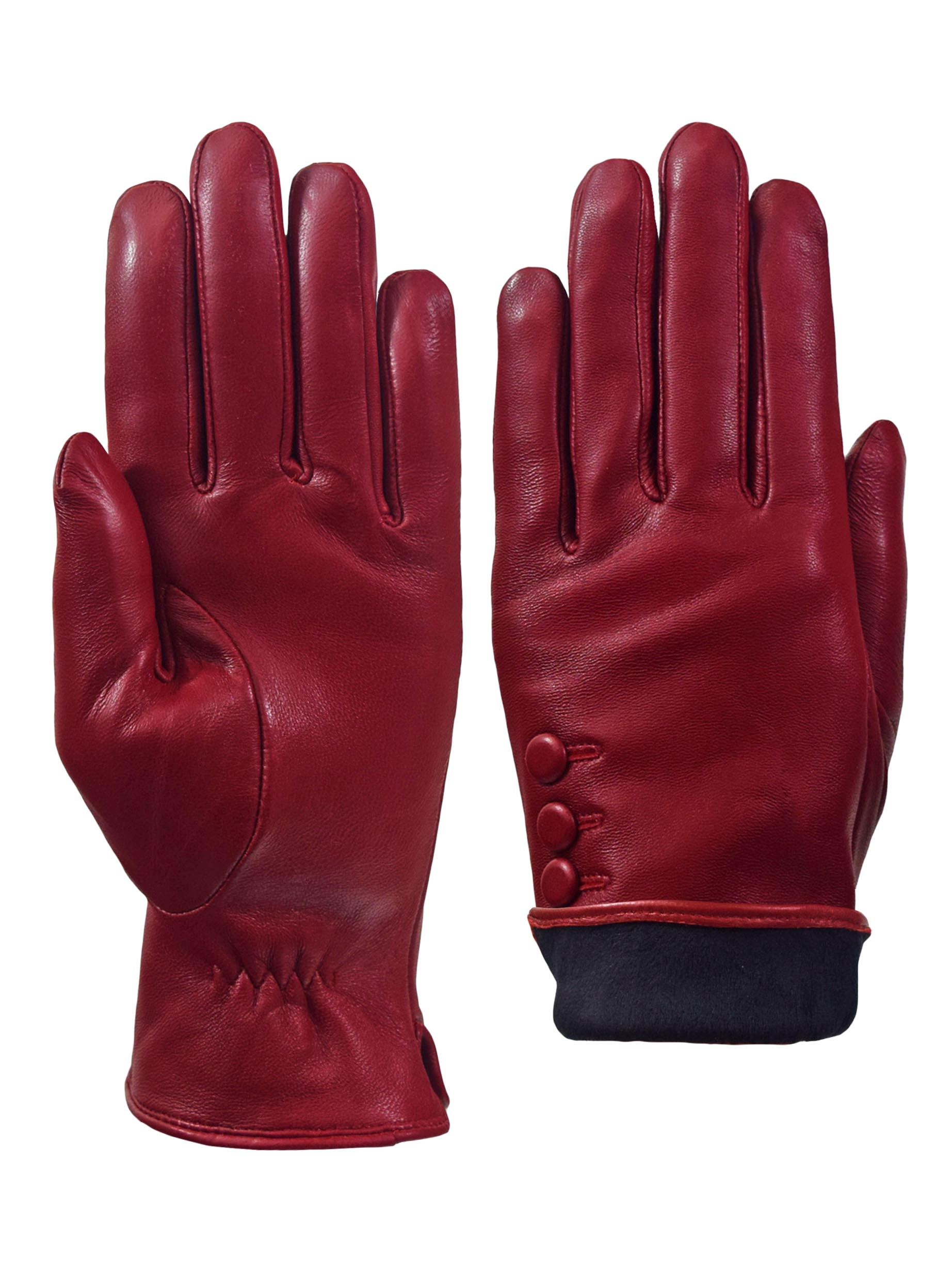 Giromy-Samoni-Womens-Warm-Winter-Plush-Lined-Leather-Driving-Gloves-Red thumbnail 6