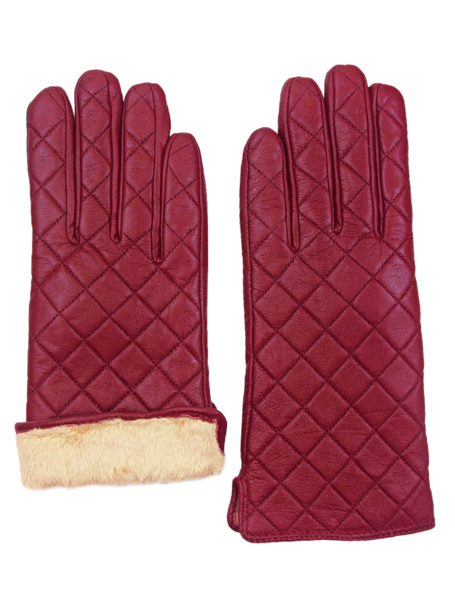 Giromy-Samoni-Womens-Warm-Winter-Leather-Quilted-Dress-Driving-Gloves-Red thumbnail 6