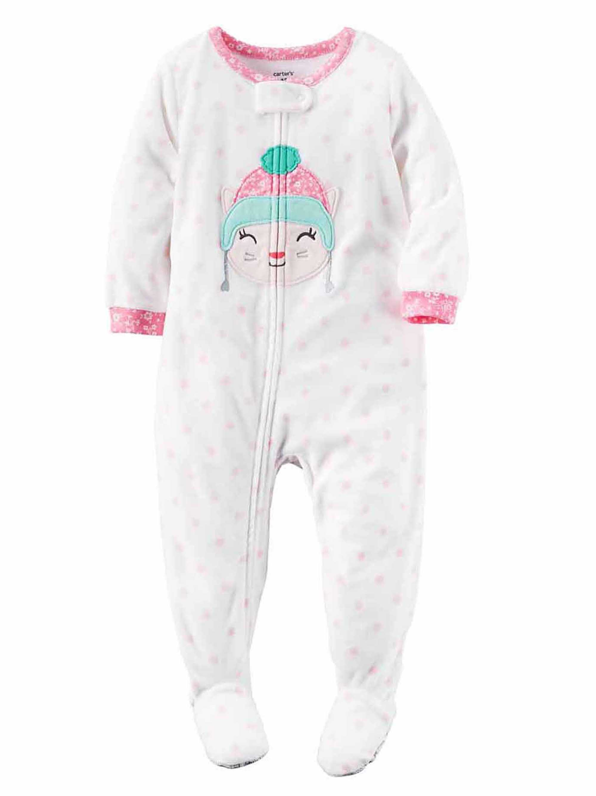 Carter s Girl s Kitty Footed Fleece Sleeper Size 2t Pajamas Toddler