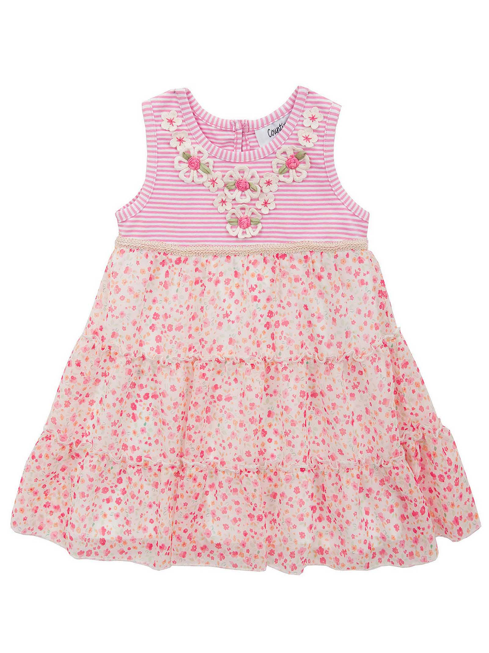 Counting Daisies Baby Girls Summer Dress Stripe & Floral Pink