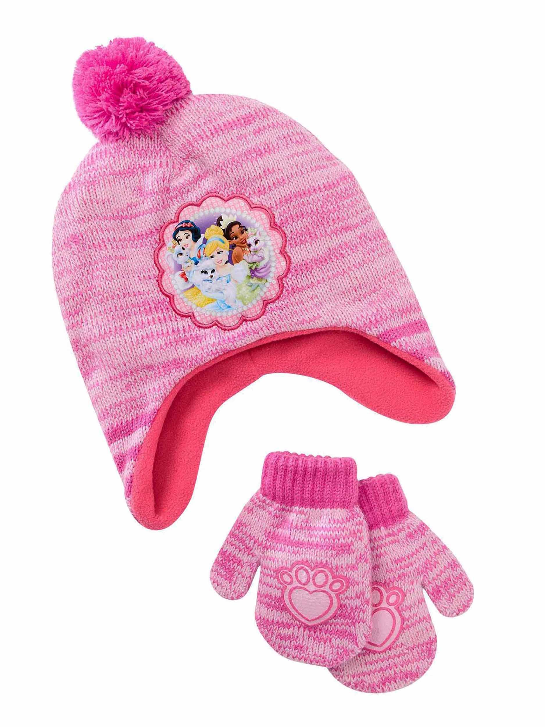 5cd2af738b9 Toddler Girls Disney Princess Palace Pets Fleece Lined Hat   Mittens Set  2T-4T