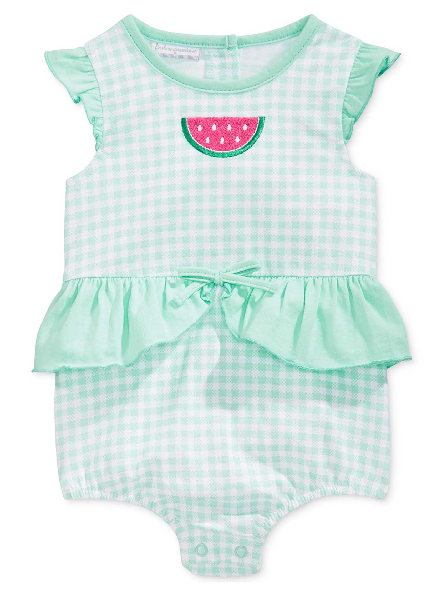 bd1de4253797 First Impressions Baby Girls Watermelon Peplum Sunsuit Romper Bodysuit
