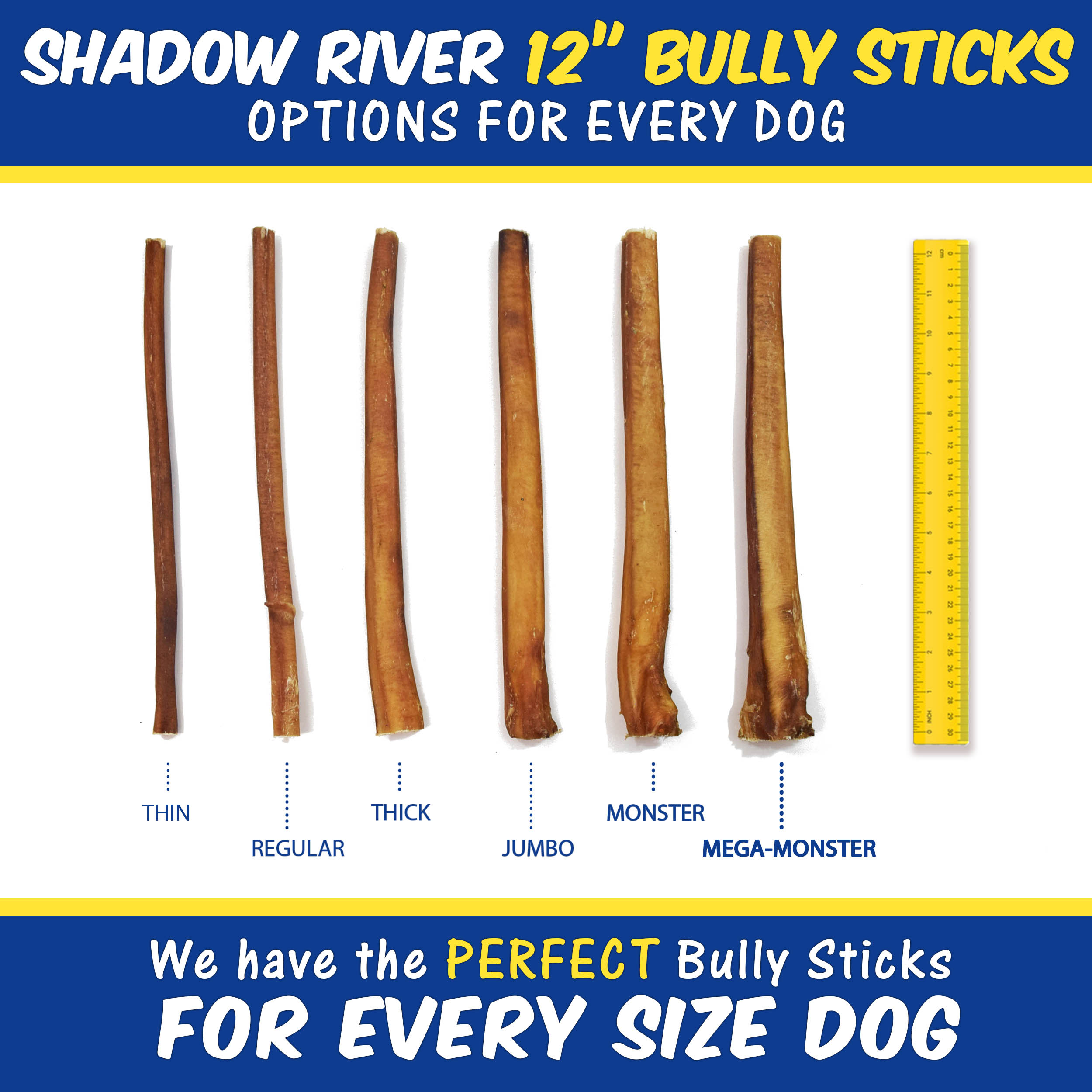 thumbnail 13 - Shadow River 12 Inch REGULAR All Natural Premium Beef Bully Stick Dog Chew Treat