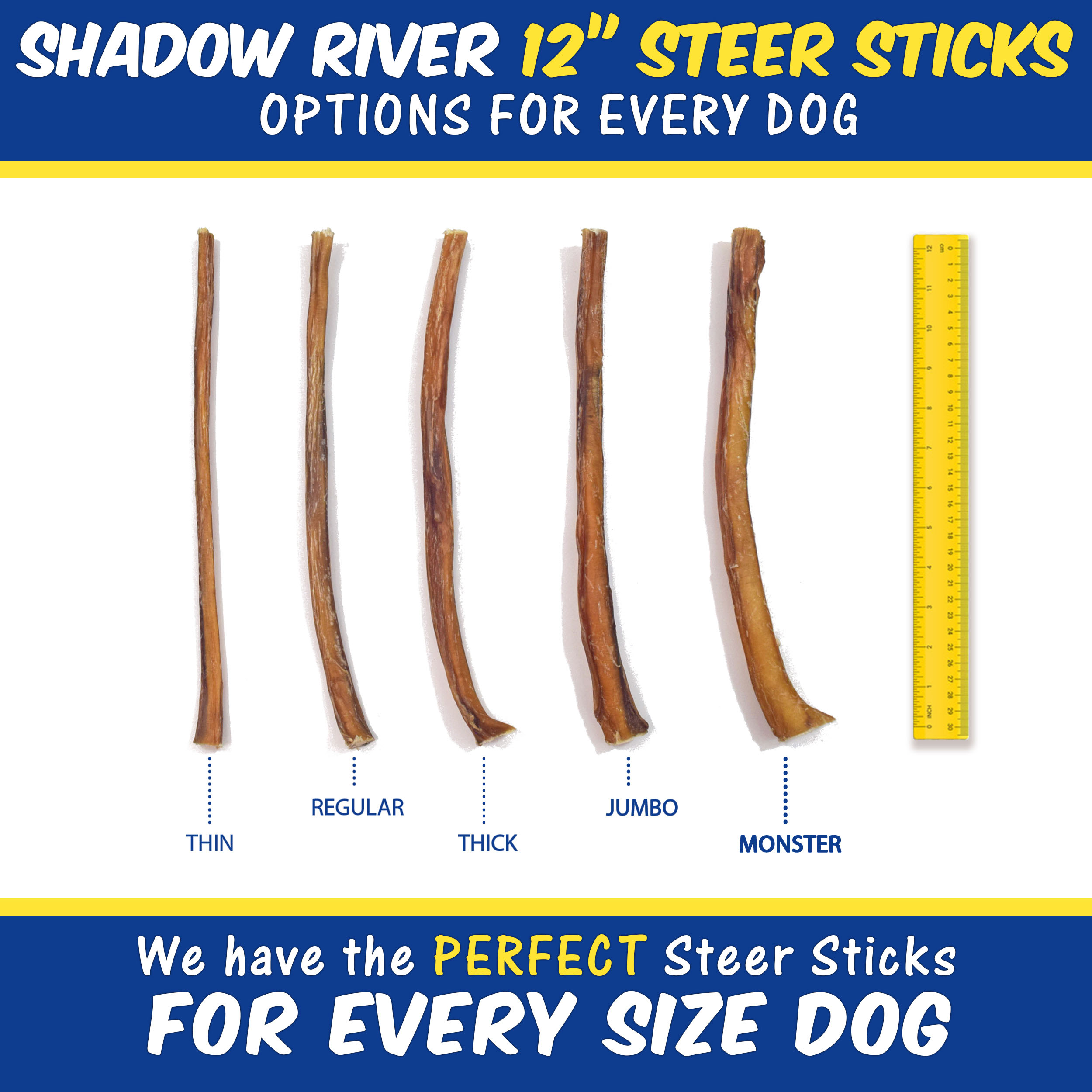 thumbnail 13 - Shadow River 12 Inch REGULAR Premium USA Beef STEER Bully Sticks Dog Chew Treats