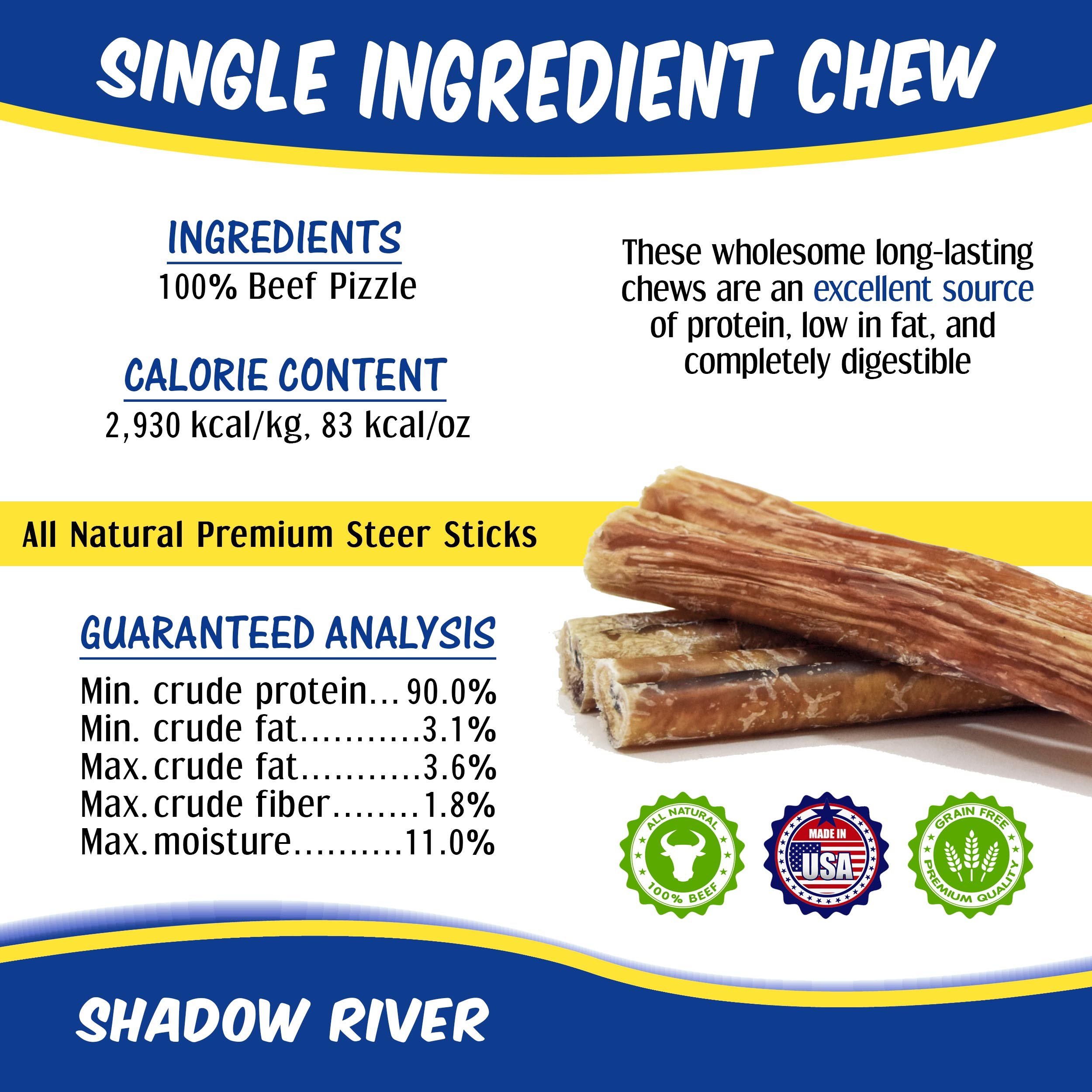 thumbnail 10 - Shadow River 12 Inch REGULAR Premium USA Beef STEER Bully Sticks Dog Chew Treats