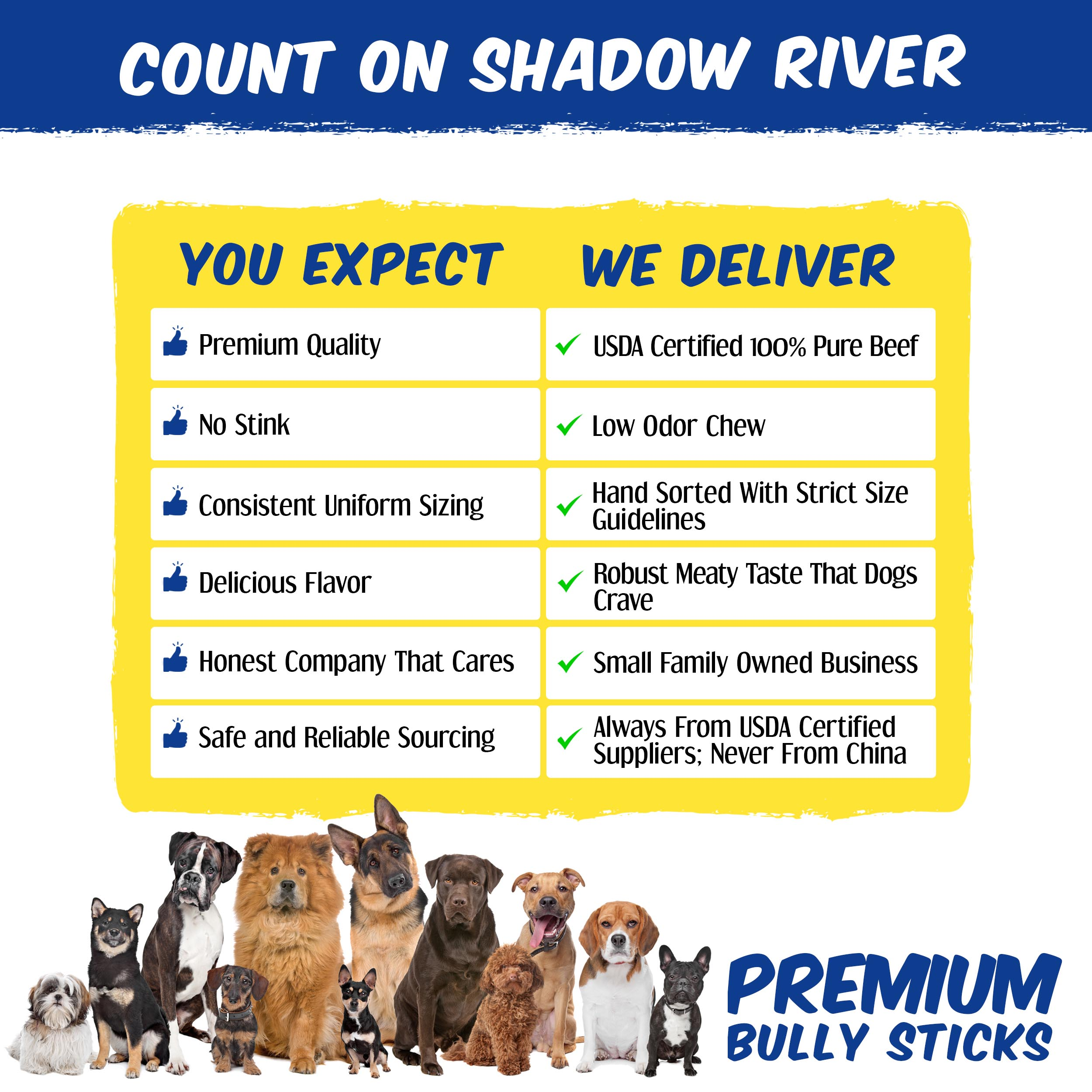 thumbnail 16 - Shadow River 6 Inch REGULAR All Natural Premium Beef Bully Stick Dog Chew Treats