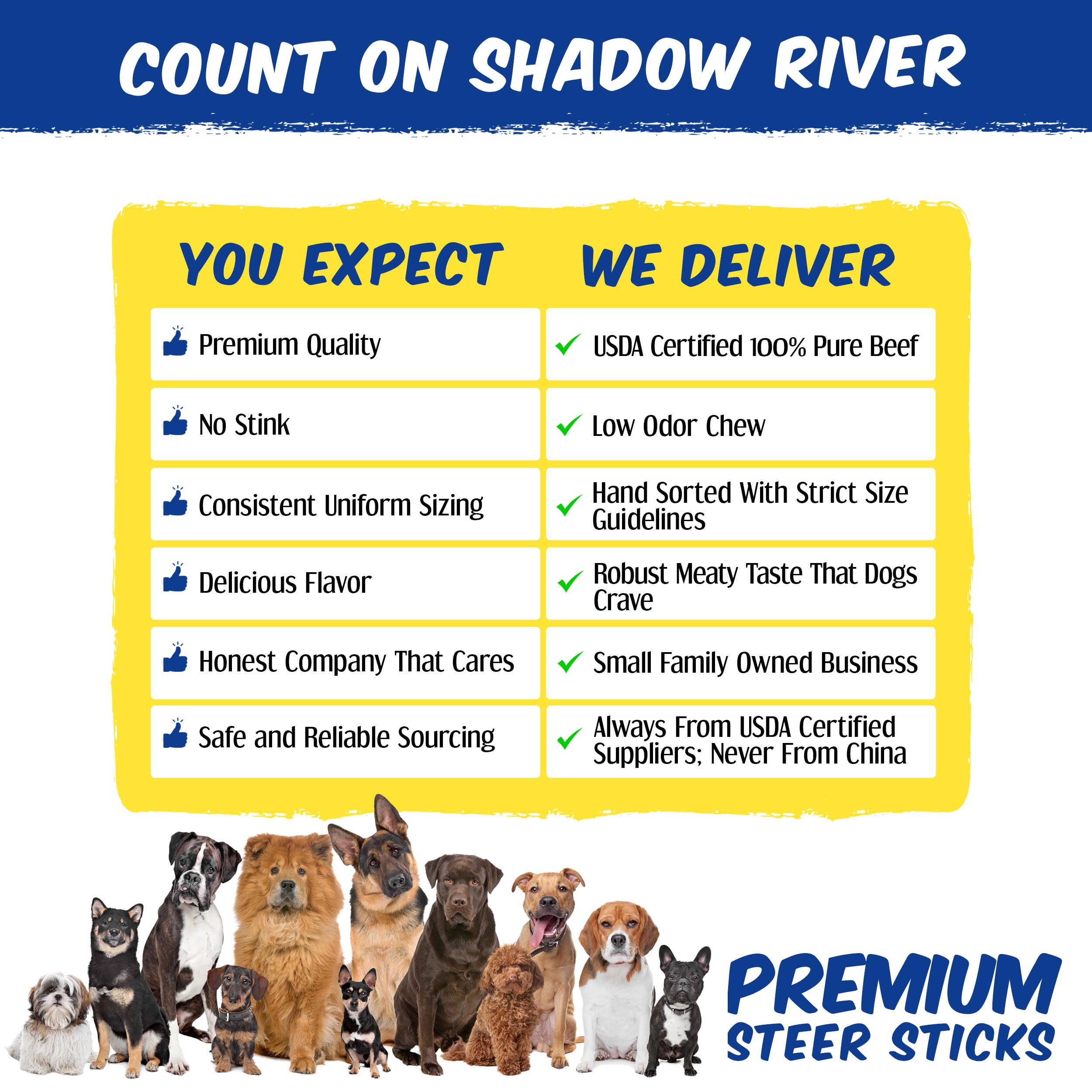 thumbnail 9 - Shadow River 6 Inch REGULAR Premium USA Beef STEER Bully Sticks Dog Chew Treats