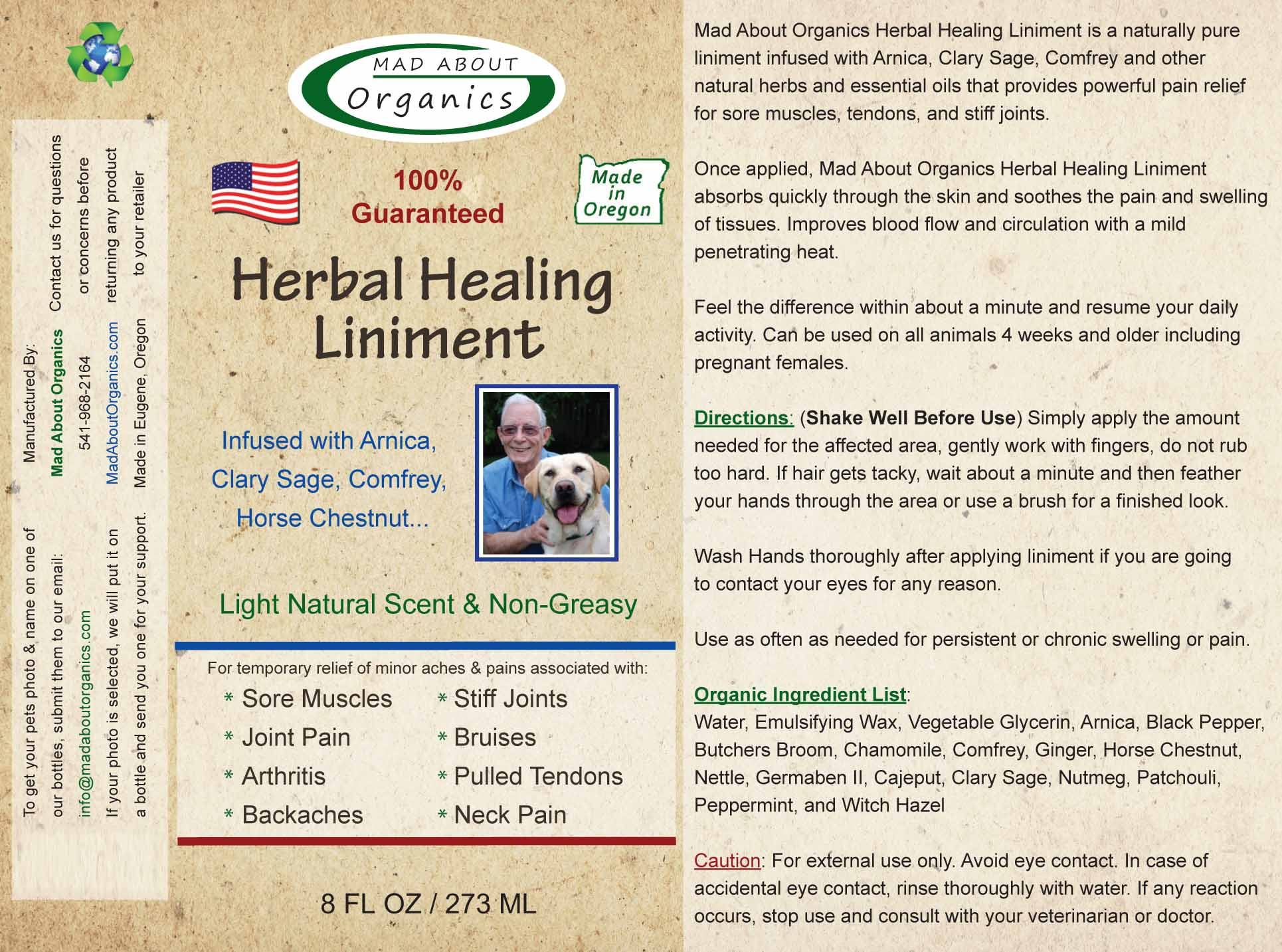 Mad-About-Organics-All-Natural-Dog-Cat-Horse-Herbal-Healing-Liniment-Pain-Relief
