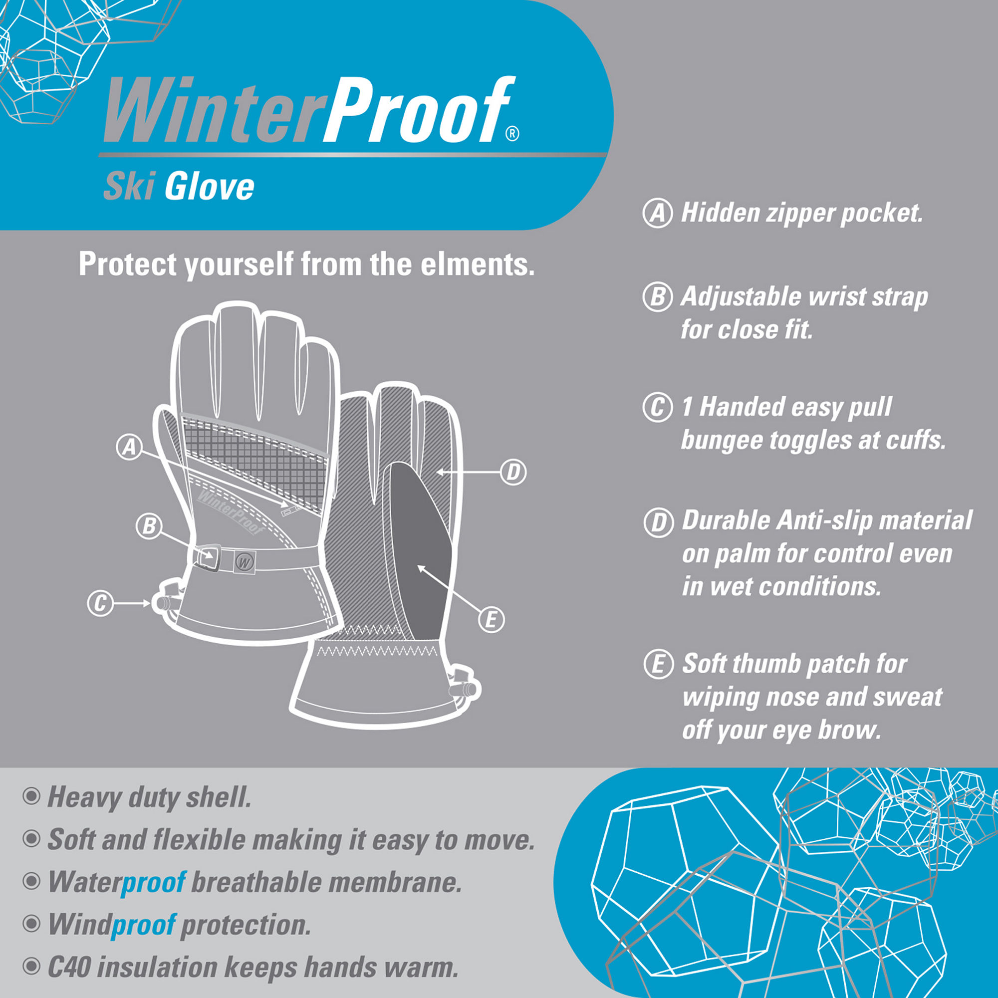 Mens ski gloves xl - Extra Large Winterproof Insulated Black Ski Gloves Waterproof Size Xl