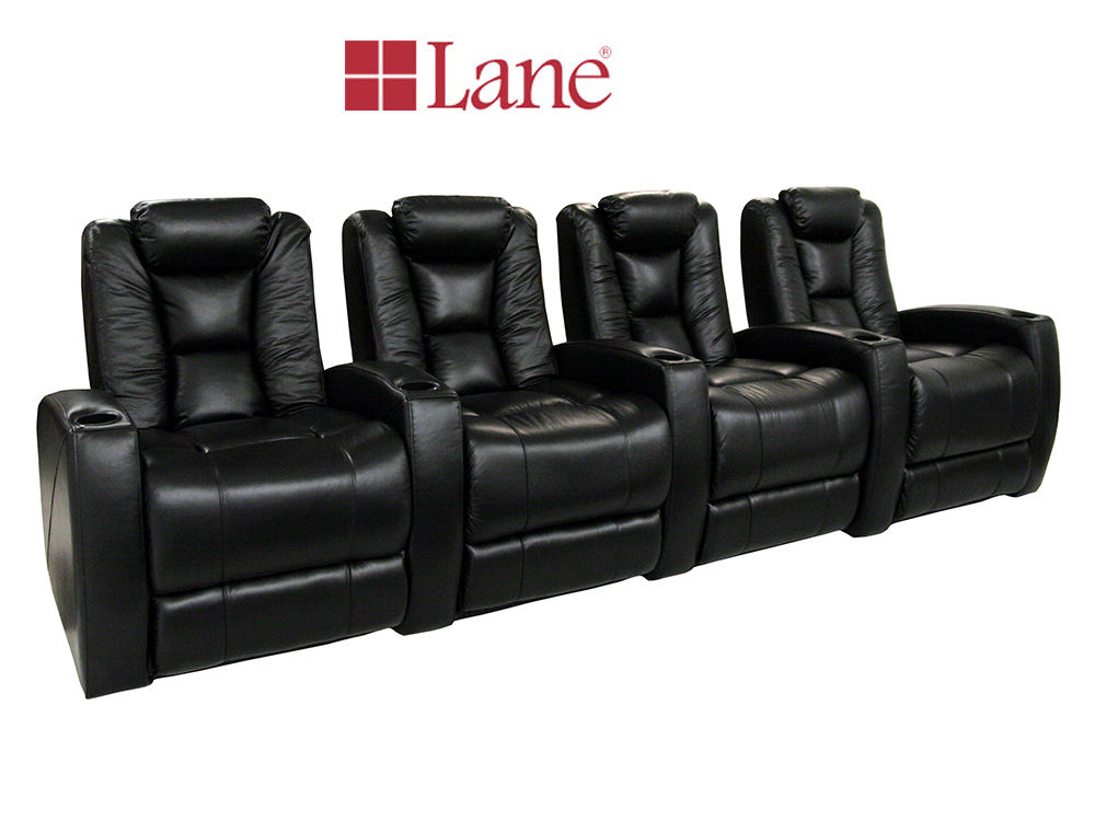 Lane MVP Black Bonded Leather Home Theater Seating Row Of 4 Manual Recline