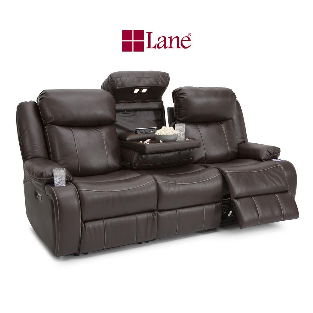 Lane Navigator Brown Leather Gel Media Sofa w Fold Down Table