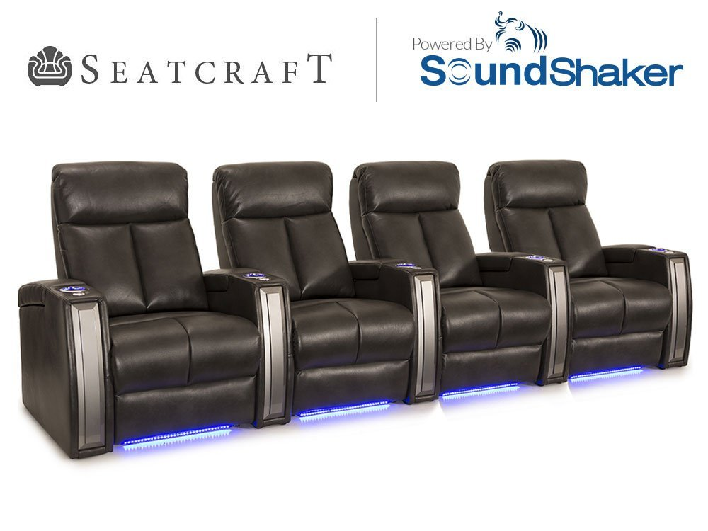 Seatcraft Seville Gray Leather Gel Power Row of 4 Home Theater Seating Chairs  sc 1 st  eBay & Seatcraft Seville Leather Gel Home Theater Seating Power Recline ... islam-shia.org