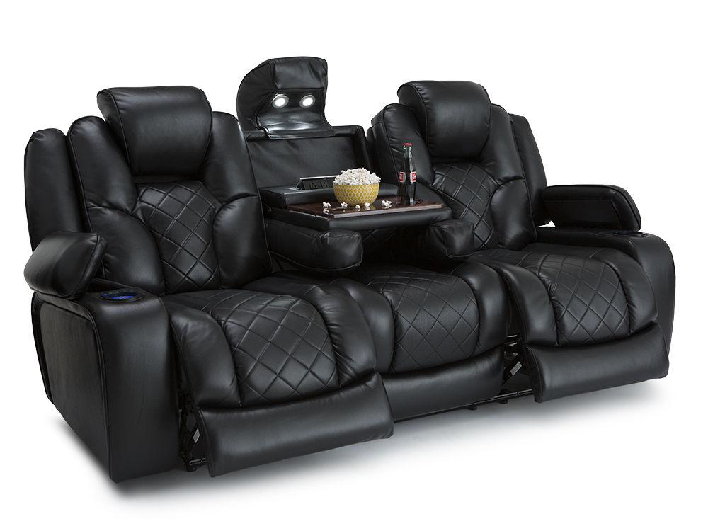 Seatcraft Prestige Black Theater Media Sofa W Fold Down