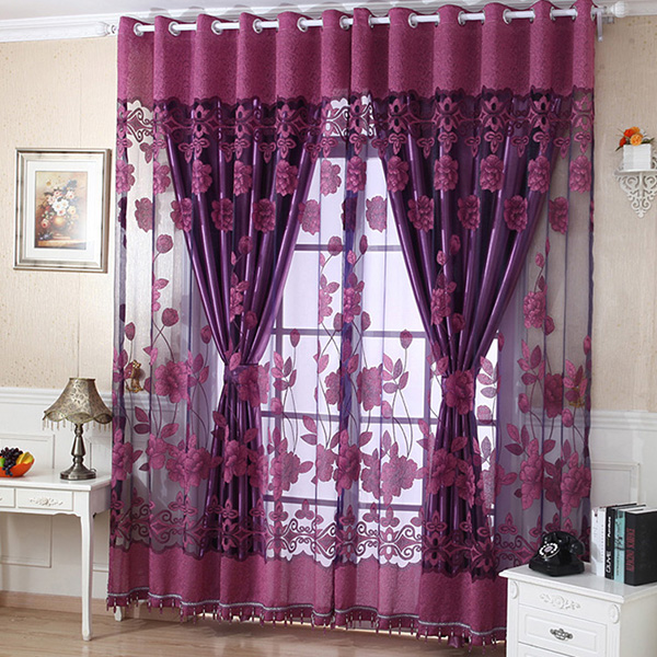 Upscale Fancy Tulle Bead Door Blackout Window Curtain