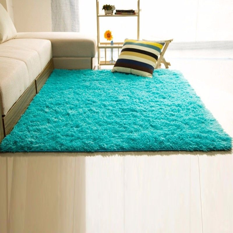 Fluffy rugs anti skid shaggy area rug home living room for Bedroom rugs