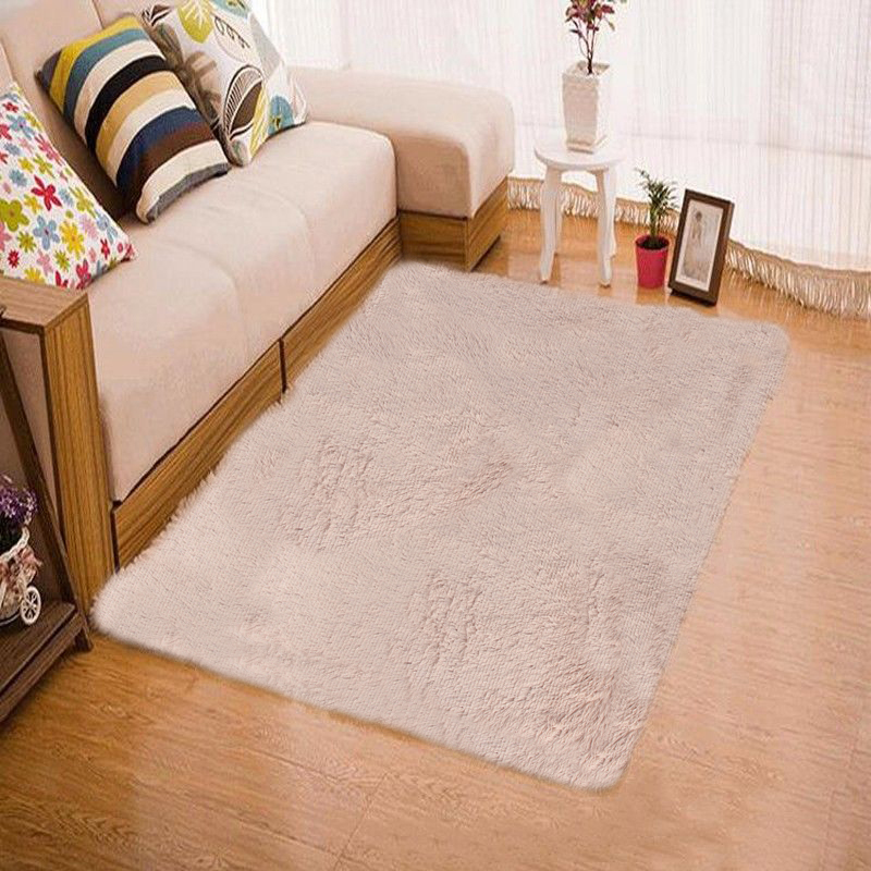 Fluffy Rugs Anti Skid Shaggy Area Rug Home Living Room Bedroom Floor