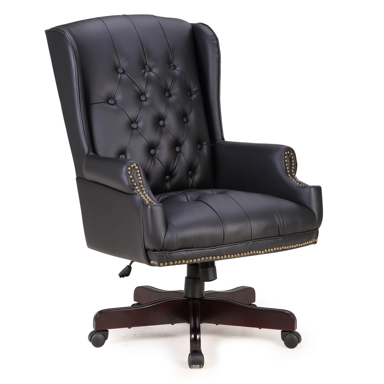 Marvelous Executive Classic Wingback Desk Chair, Tufted With Faux Leather Wood Base,  Black