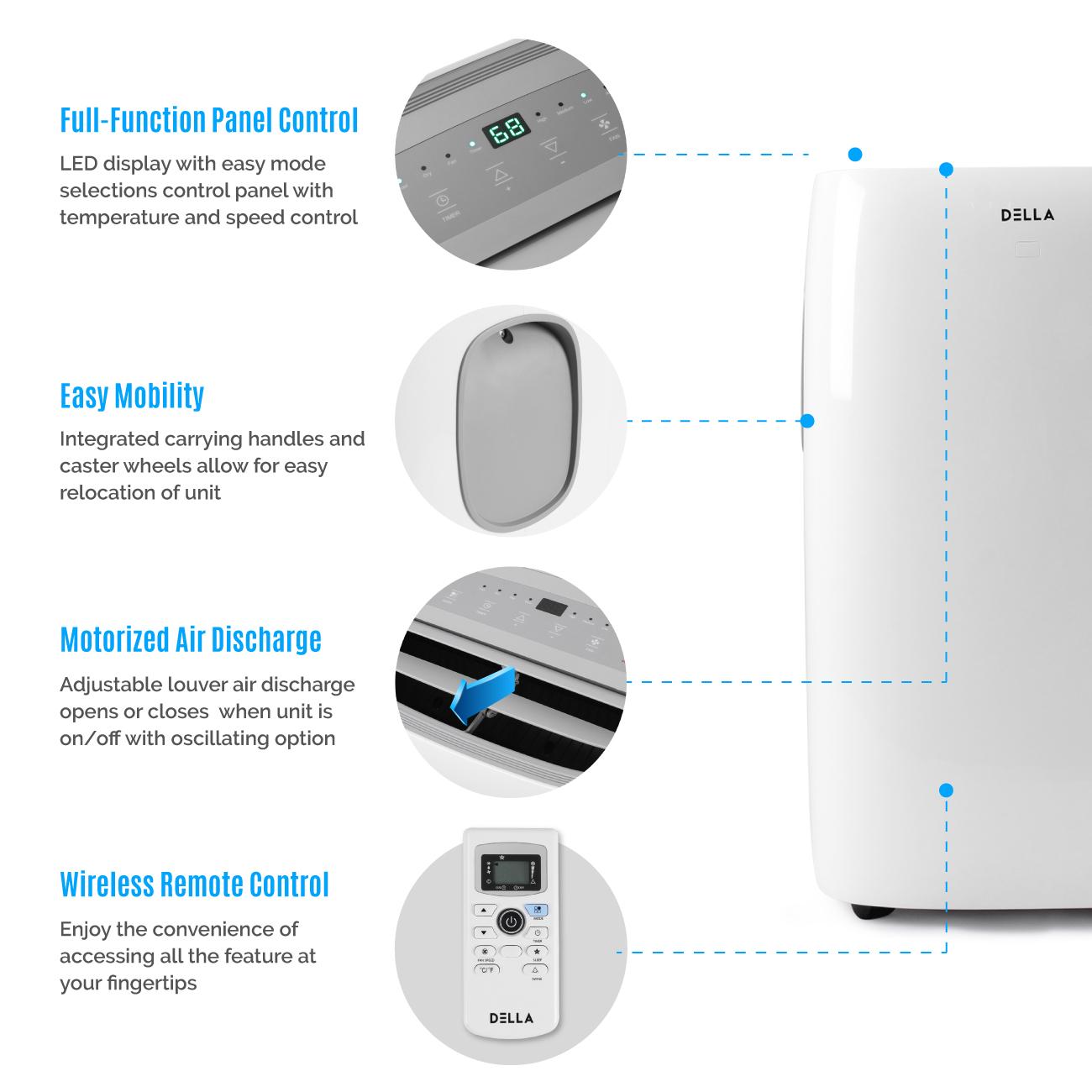 DELLA 14,000 BTU Portable Air Conditioner Dehumidifier AC ...