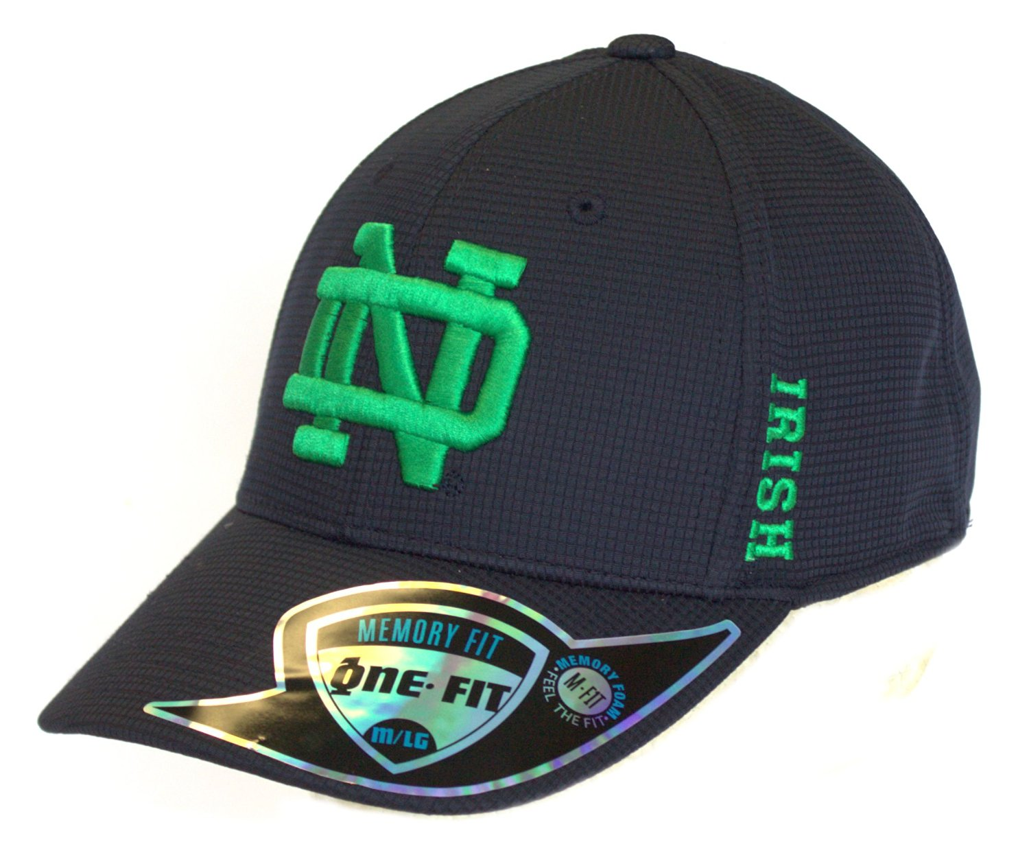 82f8c5c79cf NCAA Licensed Notre Dame Textured Memory Fit One-Fit Baseball Hat ...