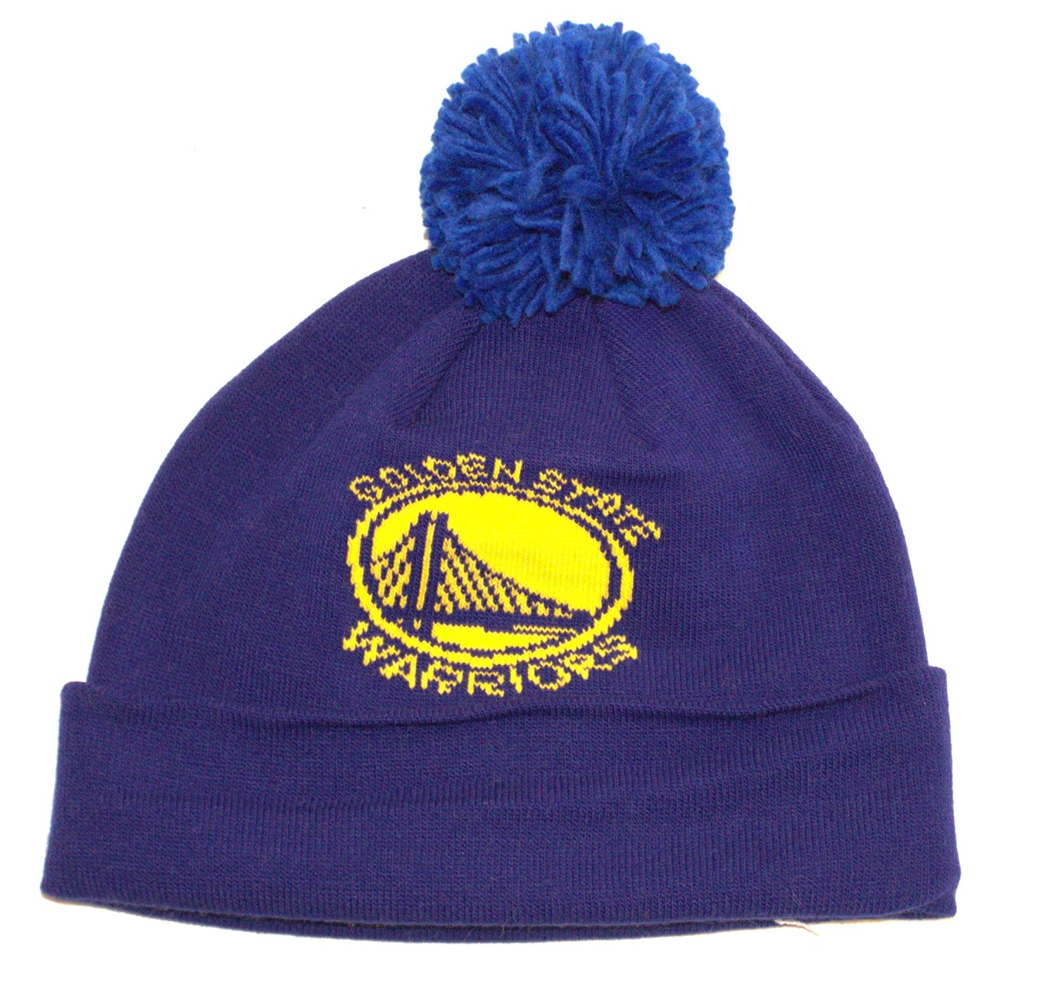 57d5766af70 NBA Officially Licensed Golden State Warriors Blue Cuffed Pom Beanie Hat Cap  Lid
