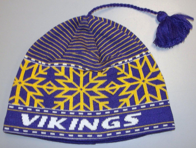 NFL Reebok Minnesota Vikings Tassel Beanie Hat Cap 760555622705  e17f37d2e