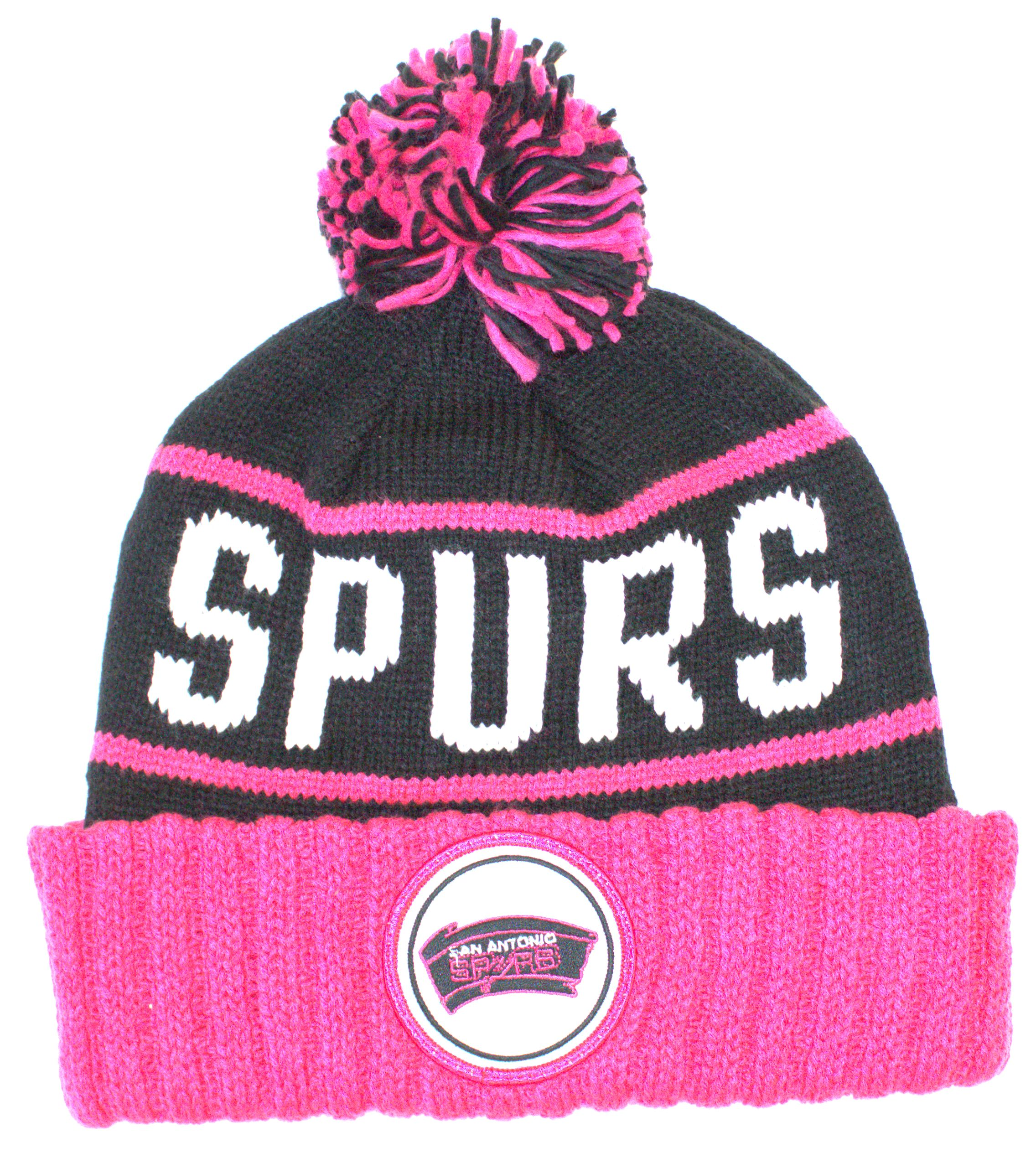 uk availability f6081 c399d ... sale san antonio spurs mitchell ness knit pink black print cuffed pom  beanie df042 b7975