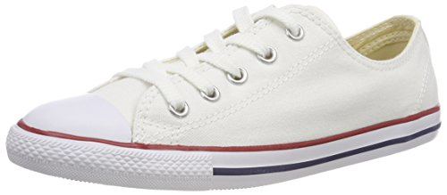 Converse Women's Dainty Canvas Low Top Sneaker, White, 10 M US