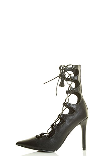 Breckelles-Womens-Pointy-Toe-Wrap-Tie-Lace-Up-Gladiator-High-Heel-Pump-Sandals thumbnail 5