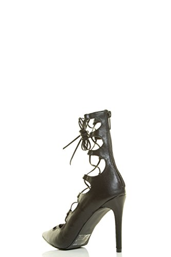 Breckelles-Womens-Pointy-Toe-Wrap-Tie-Lace-Up-Gladiator-High-Heel-Pump-Sandals thumbnail 6