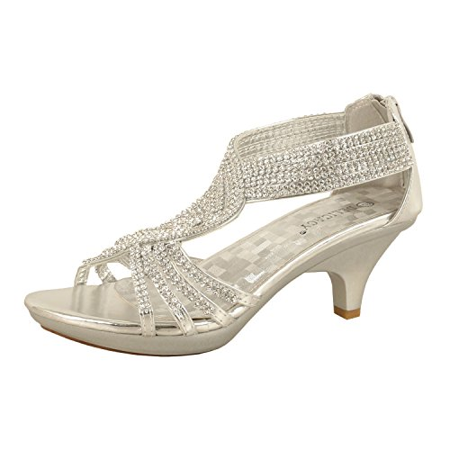 151c9142f1dd Forever Link Delicacy Womens Angel-37 Strappy Rhinestone Dress Sandal Low Heel  Shoes. Silver · Gold · Black