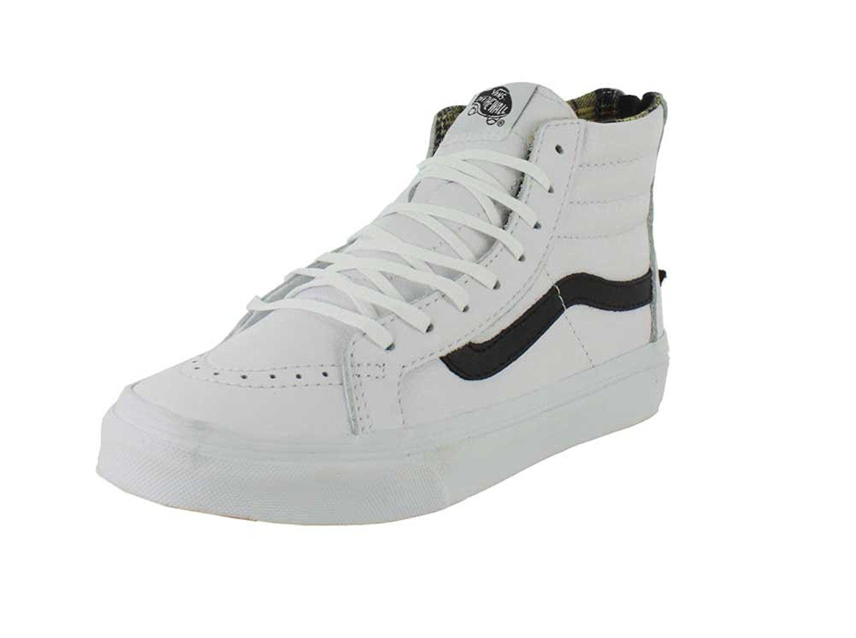 Unisex Lizard Emboss SK8-Hi Slim Zip Sneaker (4.5 D(M) US Mens/ 6.0 B(M) US Womens, (Plaid Flannel) True White/Black) Vans