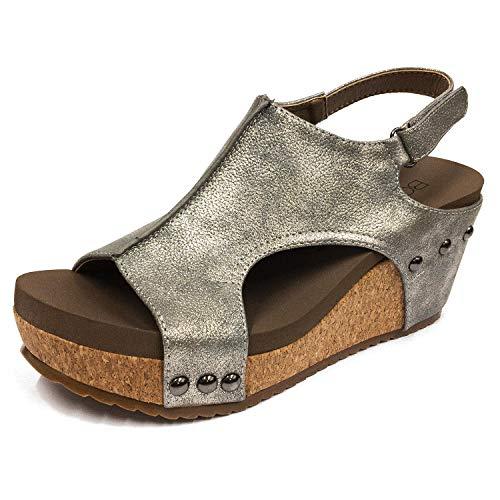 7a8f191e6d0 Corkys Women s London Wedge Sandals